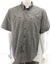 [S10] Harley-Davidson S/S Shirt Gray Button Front Embroidered Men's L EUC