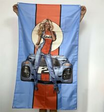 Gulf Banner Racing Team Pin Up Girl Tapestry Gasoline Oil Flag Poster Sign 3x5ft