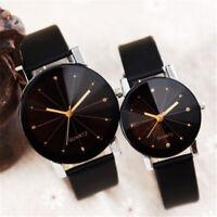 Men Women's Leather Strap Line Analog Quartz Ladies Wrist Watches Fashion Watch