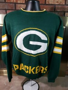 Vintage Green Bay Packers NFL Hand Knit Football Sweater Mens Size Small