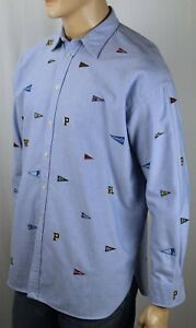Ralph Lauren Blue Oxford Boyfriend Fit Dress Shirt Multi Pennants NWT