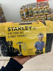 Stanley Jr. 5 Piece Tool Set & Toolbox   Real Tools for Kids (Ages 5+)