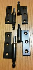 2 Messing altdeutsch brünierte Möbelbänder 50/8mm gerade f.stumpfe Türen