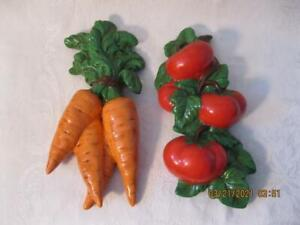 Vintage Ceramic Vegetable Wall Hangings From 1980 - Carrots & Tomatoes