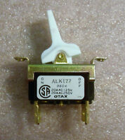 Alco DPST 20A Toggle Switch - White Plastic Paddle - NEW