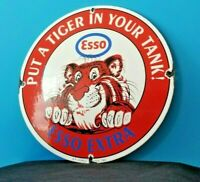 VINTAGE ESSO GASOLINE PORCELAIN GAS MOTOR OIL SERVICE STATION PUMP PLATE SIGN