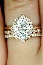 14K Solid Rose Gold 1.45 Ct Oval-Cut Diamond Engagement Bridal Trio Ring Set