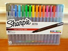 Sharpie Art Pens Fine Point Assorted Colors Hard Case with Easel 16 Count NEW