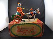 URSS jouet en tôle moteur à clé Clown avec carriole et cheval neuf MIB
