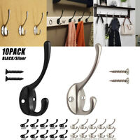 10* Dual Hat Coat Hooks Wall Door Double Hanger Clothes Bathroom Robe Peg Holder