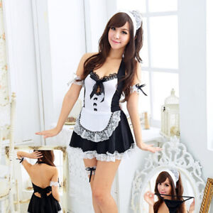 UK Sexy Lingerie Women's Costume Cosplay Uniform French Maid Outfit Fancy Dress
