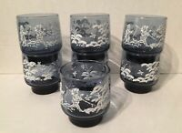 Set of 7 Mary Gregory Tumblers/Cooler Blue Glass White scene Boy Girl Dog Libbey