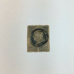 U.S. 1870-71 1c NATIONAL BANK NOTE ISSUE WITH GRILL - USED FRANKLIN STAMP