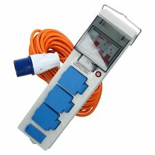 Tent Caravan Campsite Mains Electric Hook Up with RCD, USB & 15m Cable