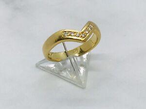 18ct yellow gold 7 stone diamond wishbone ring size J weight 3.59 grams boxed