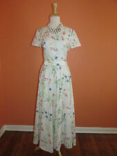 Vtg Laura Ashley Size 12UK/8US White Floral Short Sleeve Garden Tea Party Dress