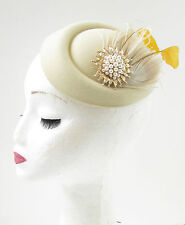 Cream Gold Ivory Feather Pearl Pillbox Hat Fascinator Headpiece Races Vtg 9AF