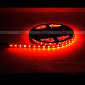 Waterproof Red 5M 300 Leds 60/M 5050 SMD LED Flexible Strip Light 12V Black PCB