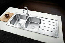Highest Quality 304 Stainless Steel Reversible 2.0  Bowl Sink +Twin Kitchen Tap