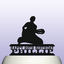 Personalised Acrylic Male Guitar Player Musicians Birthday Cake Topper