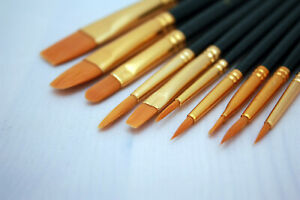 Model Paint Brushes Set 10pc  - Fine Detail Synthetic Hair - Hobby Wargaming