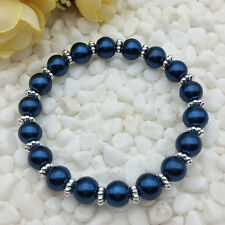 NEW Wholesale Fashion Jewelry 8mm Ink Blue water Pearl Beads Stretch  Bracelet