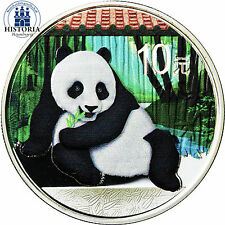 """China 10 Yuan Silber 2015 stgl. """" Großer Panda in Farbe """" colored edition"""