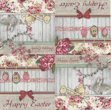 2 Serviettes en papier Pâques Lapin Fleurs - Paper Napkins Easter