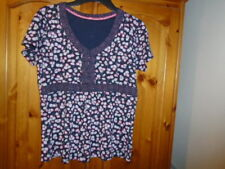 1 Navy blue, pink and grey floral short sleeve top, JASPER CONRAN, size 12-14