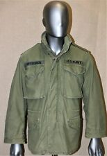VINTAGE GENUINE US NAVY KAKI M65 80'S FIELD COLD WEATHER COMBAT JACKET SMALL REG