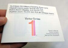 Vivitar Series 1 70-210mm f3.5 Macro zoom lens Guide Manual English EN SP FR DE