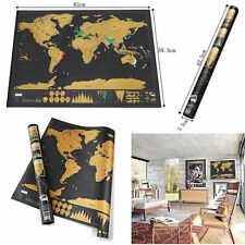 BLACK LARGE SCRATCH OFF WORLD MAP POSTER TRAVEL VACATION PERSONAL GIFT UK STOCK