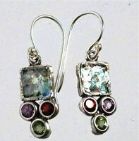 Roman glass earrings , garnet amethyst  peridot Israeli jewelry verre romain