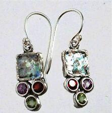 Roman glass earrings , garnet amethyst  peridot Israeli jewelry verre romain