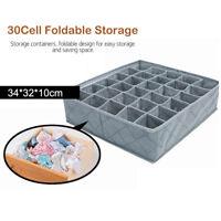 30 Cells Foldable Closet Drawer Organizer Divider Storage Box For Underwear Bra