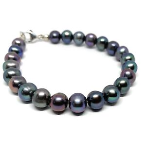 Grace Sterling Silver Freshwater Black Pearl Bracelet, 7.5 inches