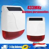 433MHz Sirène Sans Fil Solaire Extérieure Compléter Système Alarme Maison 110DB