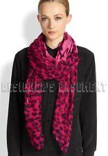 "ALEXANDER MCQUEEN fuchsia SKULL Animal print 52""-Square silk scarf NEW Authentic"