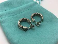 Tiffany & Co Authentic Sterling Silver Weave Mesh Hoops Earrings