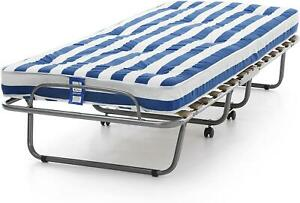 Folding camp guest bed.Small single Put you up spring mattress.Z bed on wheels