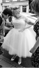 Vintage style tea length wedding dress High Street size 18. Label size 22.