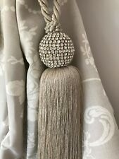Silver Grey Tassel and Crystal Jewelled Curtain Tieback 2 sizes Glamour Retro