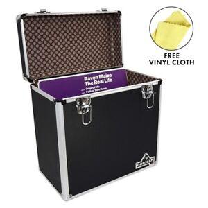 "Gorilla LP 50 12"" Vinyl Record Storage Box Case (Black) with FREE Cleaning Cloth"