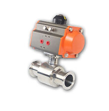 "1"" Pneumatic Ball Valve Sanitary Stainless Steel 304 Tri-Clamp Ferrule Type"