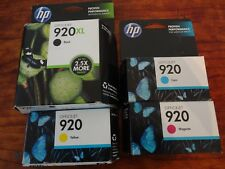SET OF 4 GENUINE HP 920XL BLACK & 920 C,M,Y INK OFFICEJET 6000 7000 7500 7500A