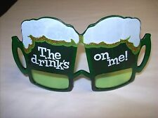 """The Drinks on Me"" St. Patrick's Day Irish Beer Fun Glasses!  One Size Fits Most"