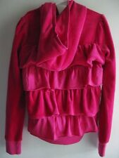 JUICY COUTURE NWT DARK PINK RUFFLE BACK TIERED HOODIE JACKET SZ 7 GIRL'S