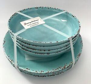 Tommy Bahama 8 PC Melamine Dinner Plates Pasta Bowls Blue Teal Aqua Crackle New!