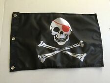 """Red Eye Patch Jolly Roger 12"""" x 18"""" Pirate Flag - Boating - Boat Flag 29"""