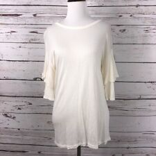 Cha Cha Vente Womens Size Petite Medium Layered Ruffle Sleeve Top Gauze NEW
